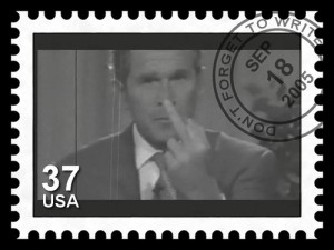 bush finger postage stamp