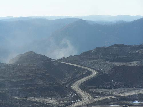 The devastated landscape of a mountaintop coal removal site