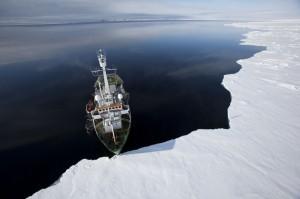 Arctic Sunrise in the Arctic copyright Greenpeace/Nick Cobbing